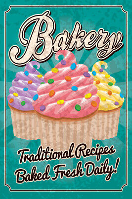 Bakery Traditional Recipes Baked Fresh Daily Vintage Art Print Poster 12x18