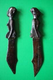 Pair of vintage carved African letter openers