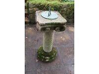 Garden Sundial on weathered stone/ concrete plinth