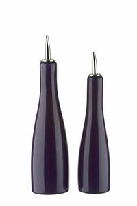 BIA SCOOP Stoneware Oil and Vinegar Bottle Pourer Drizzler Dispenser Set Purple