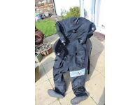 Procean Drysuit, Front opening, Quick release dry-glove system.