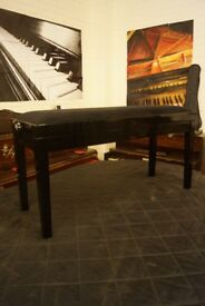 Polished ebony adjustable piano duet bench - Second hand but like new