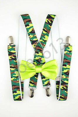 Neon Lime Bow Tie Green And Brown Camo Suspender Combo Set Wedding SDBT164