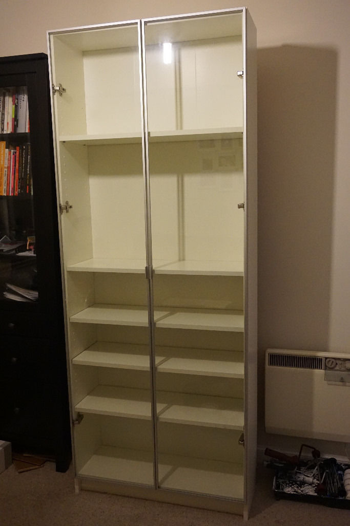 ikea bookcase billy morliden with glass doors in. Black Bedroom Furniture Sets. Home Design Ideas