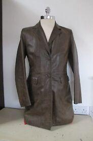 Leather Coat, Ladies, dark brown, size 42
