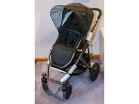 Britax Smile pushchair and carrycot (black & slate) - pristine condition