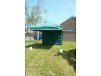 Gazebo 3mx3m with robust steel frame, awning, strong carrier bag & set of 4 water weights