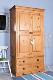 DELIVERY OPTIONS - QUALITY SOLID PINE DOUBLE WARDROBE 2 DRAWERS TONGUE GROOVE