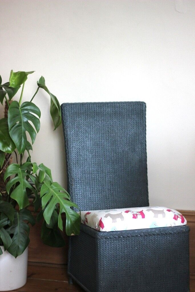 Lovely Lloyd Loom style Chair, Upcycled and Recovered Bedroom Chair with Storage, Slate Gre