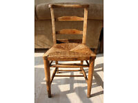 4 Vintage chapel chairs with rush seats