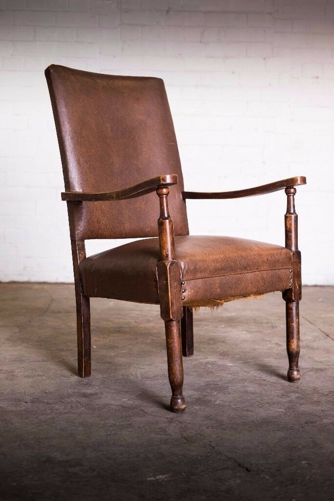 SUPERB ANTIQUE DISTRESSED BROWN LEATHER ARMCHAIR / CHAIR