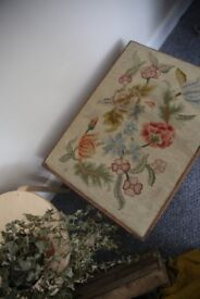 Vintage/Retro Floral Embroidered Wooden Foot Stool