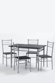5 Piece dining table & 4 chairs metal frame with black top