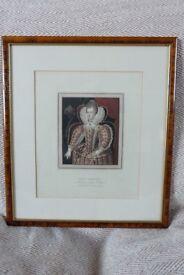 Antique Ackermann Aquatint of Queen Elizabeth circa 1814 framed and glazed