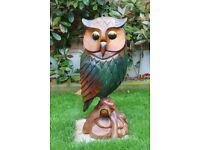 "Solid Wood Owl Garden Ornament 31"" Tall"