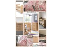 Mamas & Papas Cot bed & Drawers & matching bedding & curtains