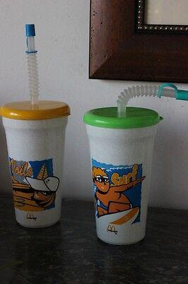 2 BORRACCE PLASTICA MCDONALDS ANNI 90 VINTAGE MCDONALD 'S DRINKING PLASTIC CUPS