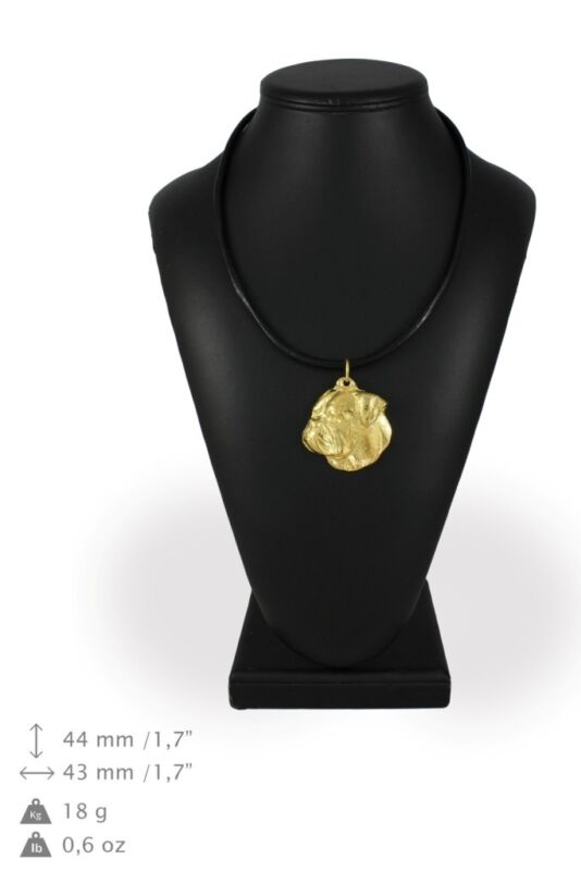 American Bulldog - gold plated necklace with image of a purebred dog, ArtDog USA