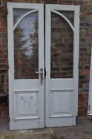 Pair solid wooden glazed doors with door furniture: shabby chic, well-made