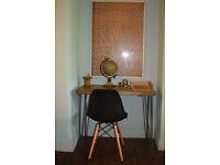 Rustic Chestnut Industrial Vintage Style Desk & Black Chair Hairpin Legs