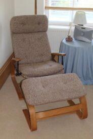 Reclining Chair and footstool. Suffolk Recliner Mark II.