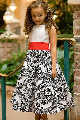 Damask Flower Girl Dress (Damask Velvet Flower Girl Dress Pageant Wedding Birthday Junior Bridesmaid)