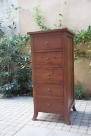 Solid oak wood 5 drawer tall boy unit | 100cm high | Used in VGC