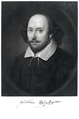 - William Shakespeare Engraving 1870 Art Print Poster 12x18