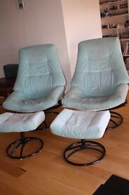 Pair of Ekornes Danish Recliner Armchairs - green Fabric - with foot stool