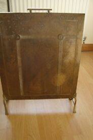 ANTIQUE SOLID BRASS FIRE SCREEN. 2 FEET HIGH 1 FT 6 IN WIDE