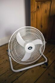 white 18 inch fan with 3 speeds