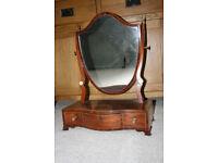 Georgian inlaid Antique Mahogany Shield shaped dressing Mirror.