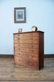 Antique Bank Of Pine Tool Drawers Collectors Chest Specimen Chest