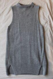 Topshop Sleeveless Grey Tunic Jumper Size 8