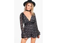 Floral Ruffle Sleeve Playsuit size 10 (new boohoo)