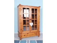 DELIVERY OPTIONS - PINE CABINET, WITH GLASS DOORS 3 REMOVABLE SHELVES & DRAWER