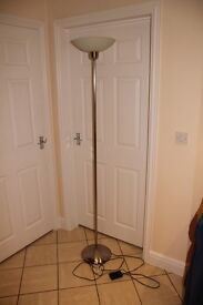 John Lewis Zeta uplighter floor lamp / standard lamp in satin nickel (brushed steel) finish