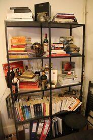 Black metal shelf with glass panels £40