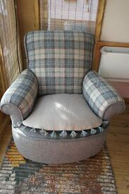 Armchair,Cottage,Bothy Style Freshly Upholstered, Pure Wool Fabric Antique Chair
