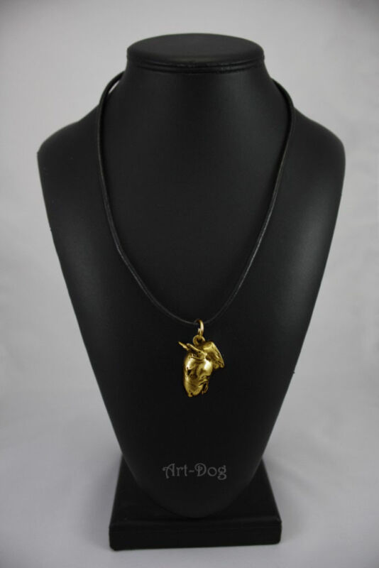 Bull Terrier, gold covered necklace, high qauality Art Dog CA