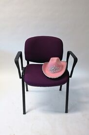 Set of 4 Purple Fabric Upholstered Meeting Chairs