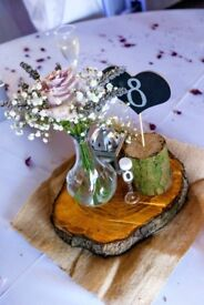 7 Cherry Tree Wooden Slices Wedding table centrepieces + extras