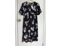 dress - black with roses pattern