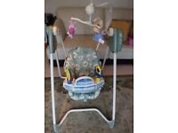 Swings, horse Bouncer, Musical toys ,high chair/ booster chair ,Pressure gate-Smoke and Pet Free