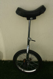 UNICYCLE WITH 16 INCH WHEEL - LONGCRAINE BROXTON - ALL CHROME - SLIGHTLY ADJUSTABLE SEAT