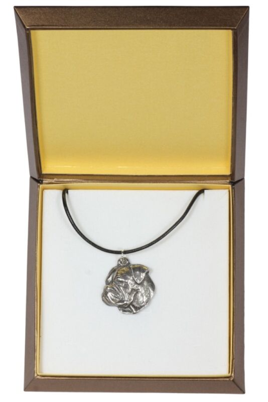 American Bulldog - silver covered necklace with dog, in box, Art Dog USA