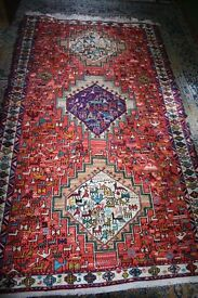 Persian Soumak killim silk rug gorgeous colours animal design 108cm x 197cm