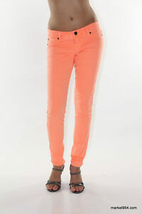 Scarlet Boulevard NEON colored JEANS women stretch pants mint pink orange blue
