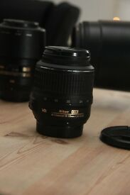 Nikon D3100 DSLR + kit lense and sigma 150 - 500 + macro lense.