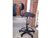 Black Office Chair Solid Adjustable Footrest